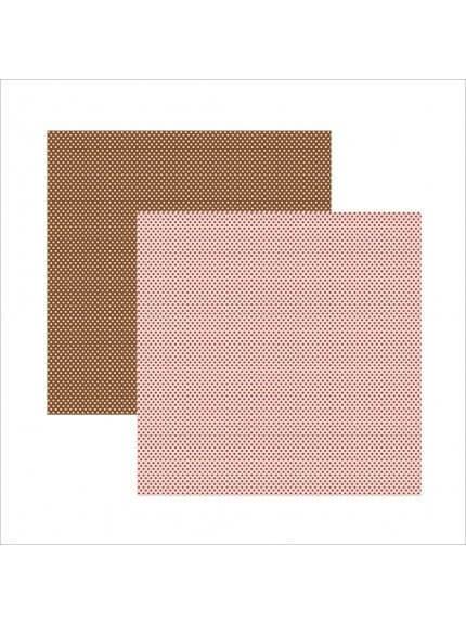 Folha para Scrapbook Básico rosa chocolate poá